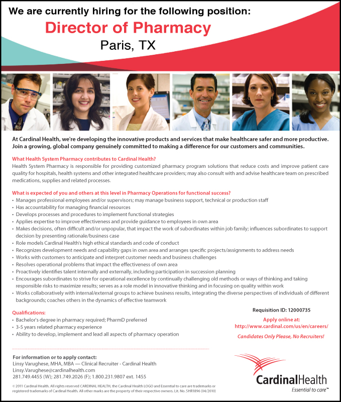SPOTLIGHT JOB: DOP with Cardinal Health in Paris, TX ...